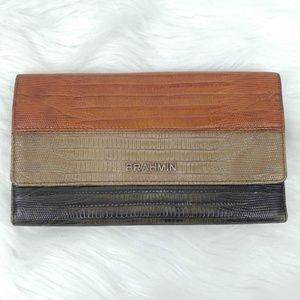 Brahmin   Reptile Embossed Leather Wallet Checkboo